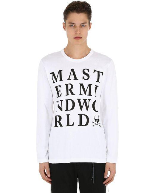 メンズ MASTERMIND WORLD コットンジャージー長袖tシャツ White