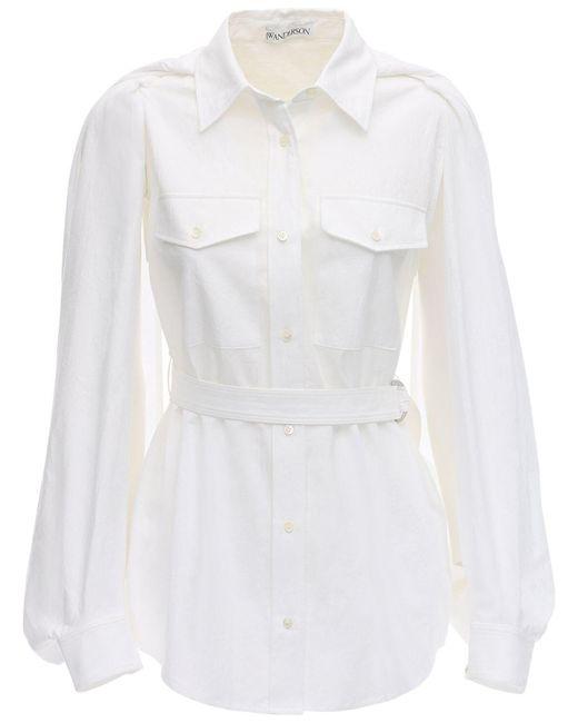 J.W. Anderson コットンキャンバスケープシャツ White