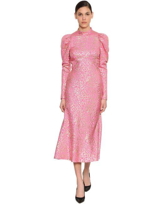 Temperley London シルクラメジャカードミディドレス Pink