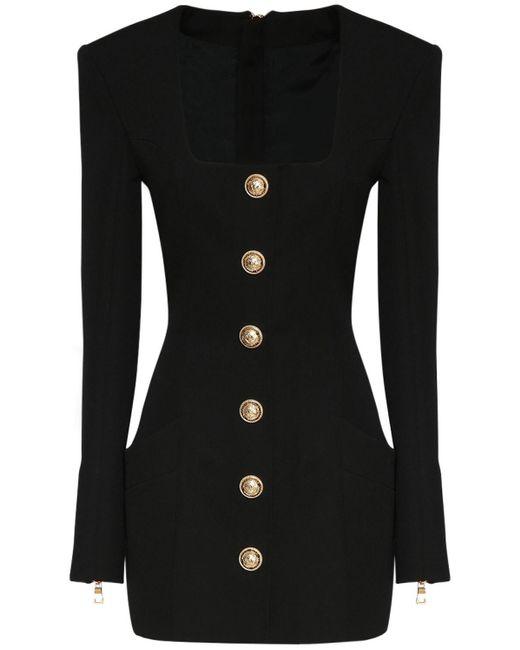 Короткое Платье Из Шерсти Balmain, цвет: Black