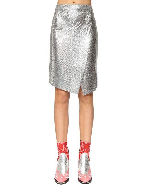Paco Rabanne メタルメッシュラップスカート Metallic