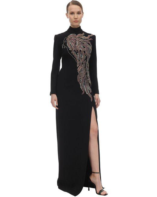 Sandra Mansour クレープロングドレス Black