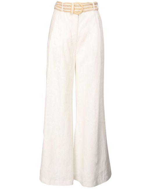 Zimmermann White Amelie Linen Wide Leg Pants