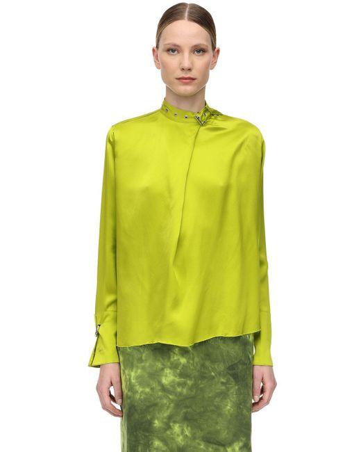 Marques'Almeida バックルカラー サテンシャツ Green