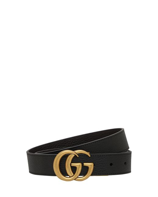 Gucci Black 3cm Gg Reversible Leathers Belt