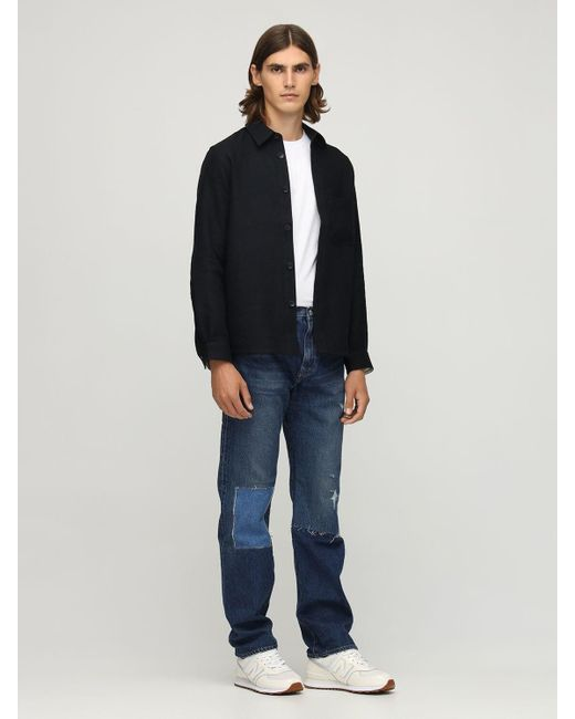 メンズ Junya Watanabe ミルドウール&リネンツイルシャツジャケット Black
