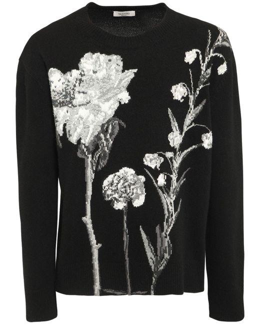 メンズ Valentino Floral ウール&カシミアセーター Black