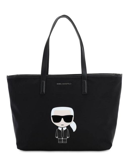 """Сумка Из Канвас """"k/ikonik"""" С Принтом Karl Lagerfeld, цвет: Black"""
