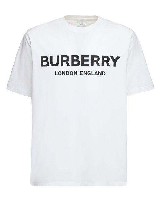 Футболка Из Хлопкового Джерси С Принтом Логотипа Burberry для него, цвет: White