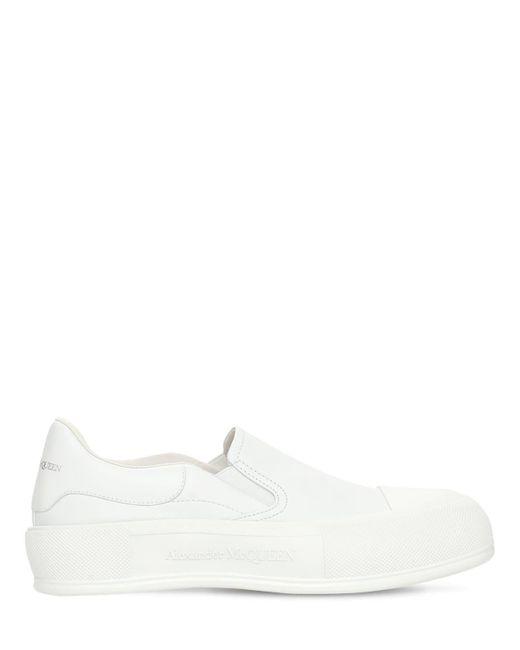 Кожаные Слипоны 45mm Alexander McQueen, цвет: White