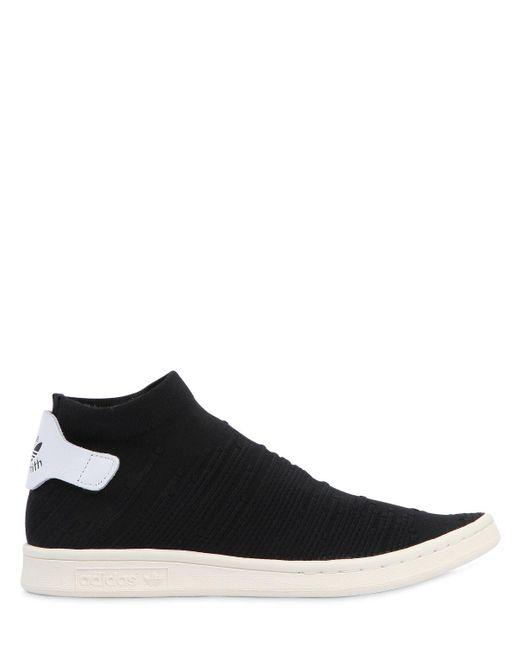 Lyst Adidas Originali Stan Smith Sock Scarpe In Nero Per Gli Uomini.