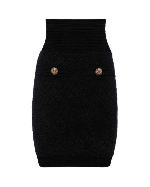 Короткая Трикотажная Юбка Balmain, цвет: Black