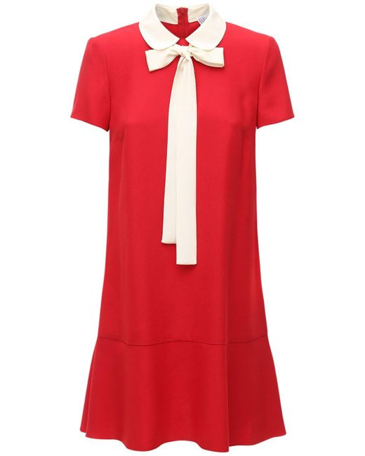 Короткое Атласное Платье Из Крепа RED Valentino, цвет: Red
