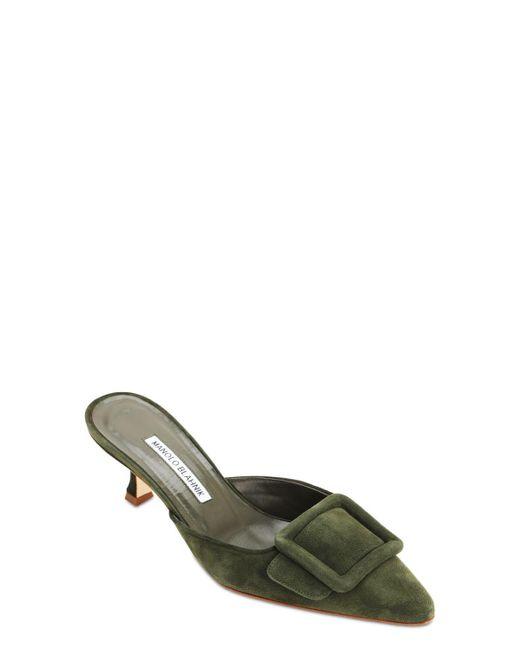 Manolo Blahnik Maysale スエードミュール 50mm Green