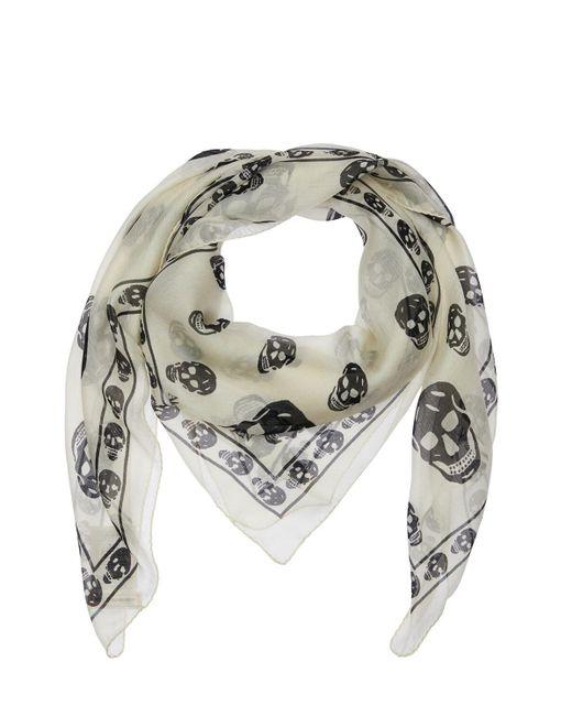 メンズ Alexander McQueen Skull シルクスカーフ White