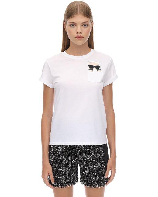 Karl Lagerfeld コットンジャージーtシャツ White