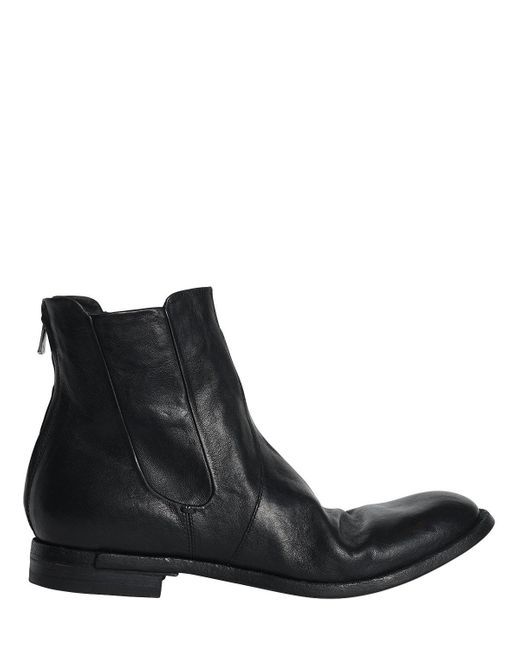 Officine Creative | Black Washed Leather Cropped Boots | Lyst