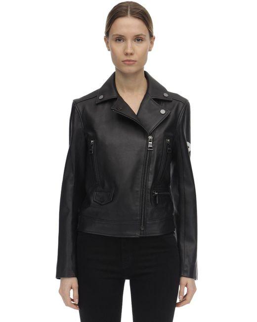 Karl Lagerfeld レザーバイカージャケット Black