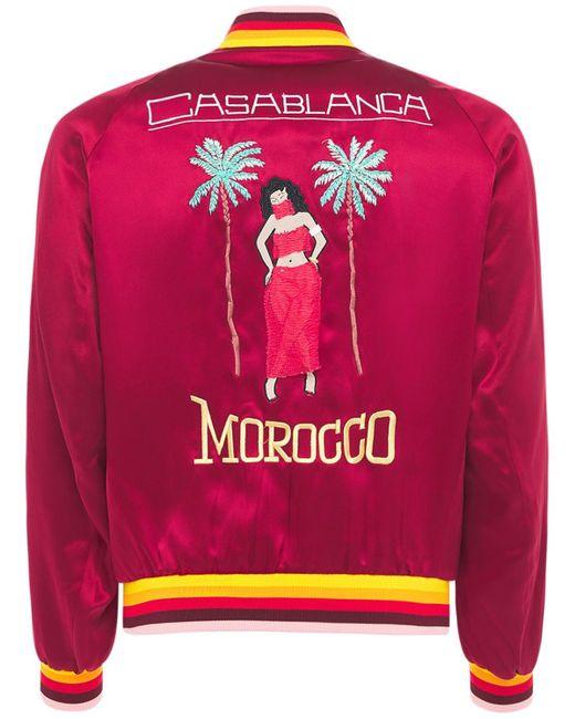メンズ CASABLANCA シルクサテンボンバージャケット Red