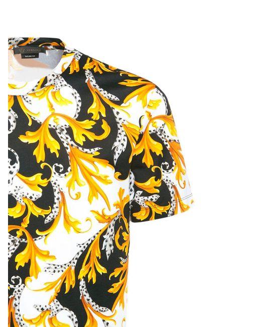 Футболка Из Стрейч Хлопка С Принтом Baroque Versace для него, цвет: Multicolor
