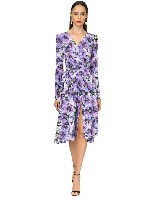 Dolce & Gabbana クレープデシンミディドレス Purple