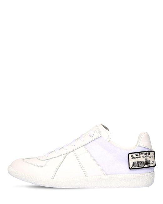 メンズ Maison Margiela Replica レザースニーカー White