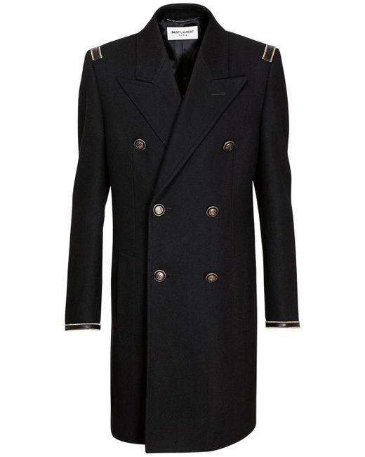 Двубортное Шерстяное Пальто Saint Laurent для него, цвет: Black
