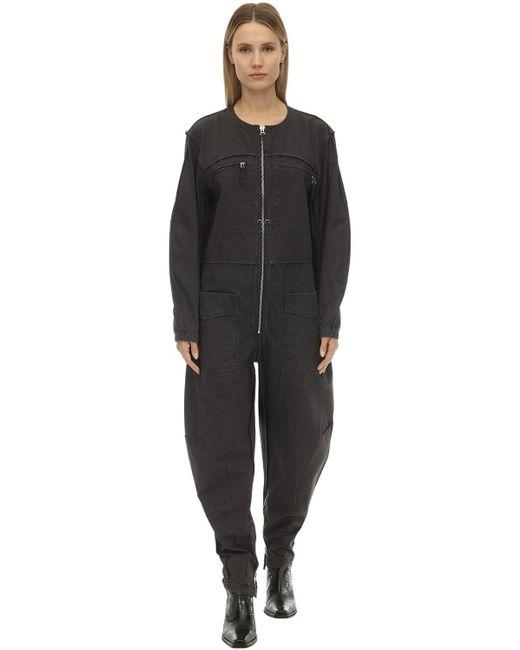 Étoile Isabel Marant Leiko コットンキャンバスジャンプスーツ Black