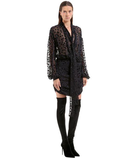 Magda Butrym | Black Polka Dot Flocked Chiffon Dress | Lyst