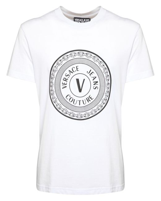 Versace Jeans White Logo Printed Cotton T-shirt for men