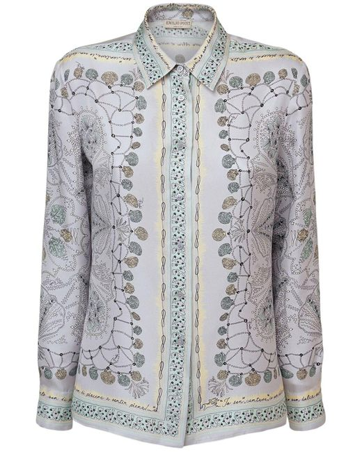 Emilio Pucci シルクツイルシャツ Gray