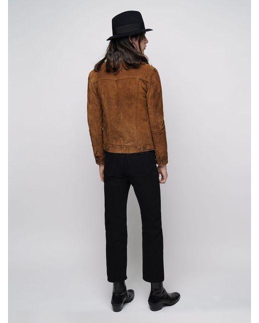 メンズ Saint Laurent スエード&シアリングジャケット Brown