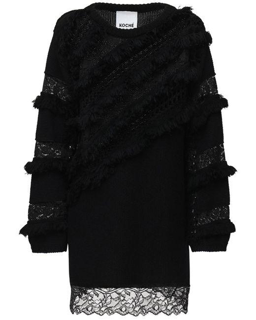 Koche Black Minikleid Aus Wolle Und Baumwolle