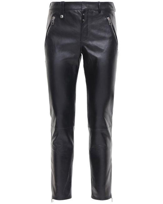 メンズ Alexander McQueen レザーパンツ 15.5cm Black