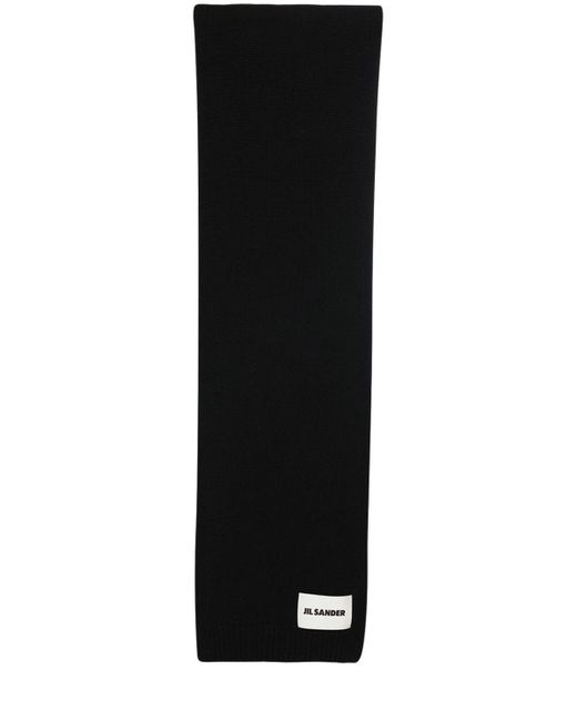 Jil Sander Black Cashmere Knit Maxi Scarf W/ Logo Patch