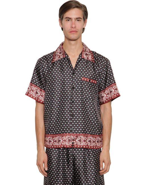 メンズ Dolce & Gabbana シルクツイルボウリングシャツ Black