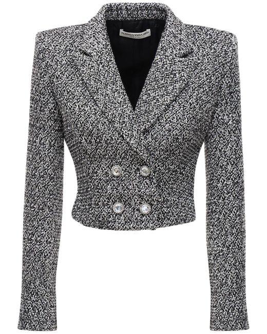 Alessandra Rich スパンコールツイードクロップジャケット Gray