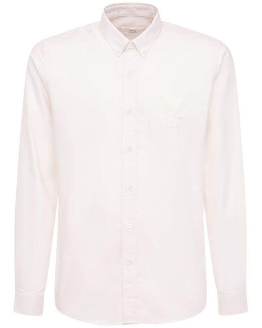 Рубашка Оксфорд Из Хлопка С Логотипом AMI для него, цвет: Multicolor