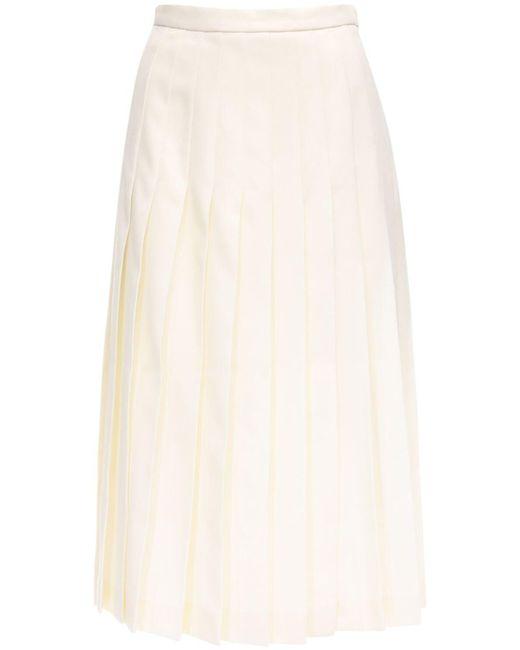 Alessandra Rich ウールプリーツスカート White