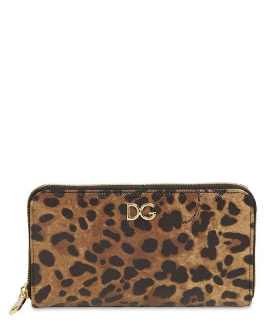Dolce & Gabbana レオパードプリントレザー 長財布 Brown