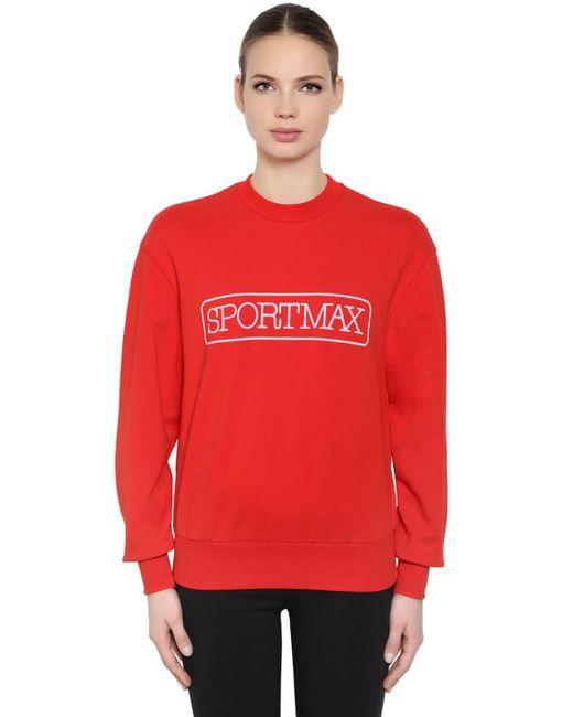 Sportmax コットンブレンドスウェットシャツ Red