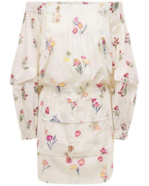 Max Mara Floral コットンポプリンドレス White