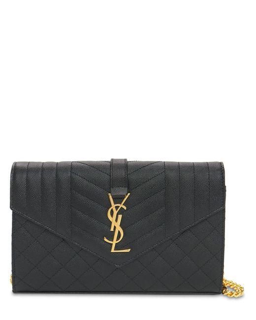 """Кошелек Из Стеганной Кожи """"monogram"""" Saint Laurent, цвет: Black"""