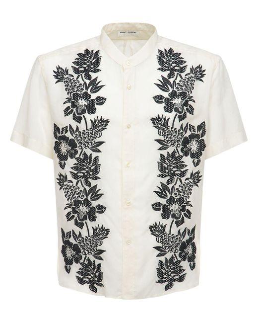 メンズ Saint Laurent Floral キュプラシャツ White