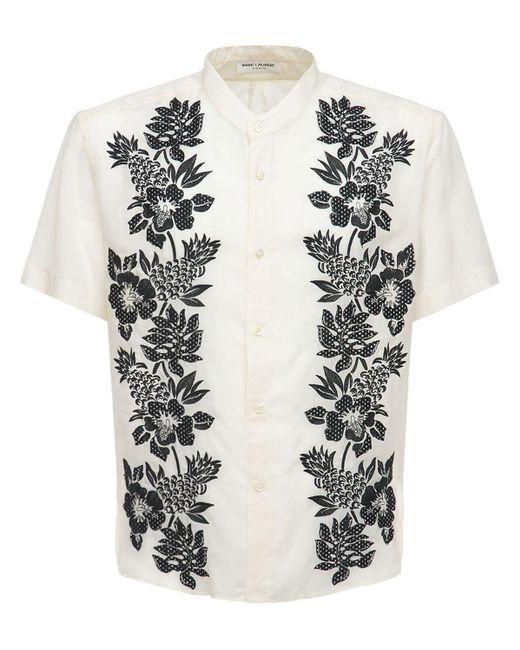 Рубашка Из Купро С Вышивкой Saint Laurent для него, цвет: White