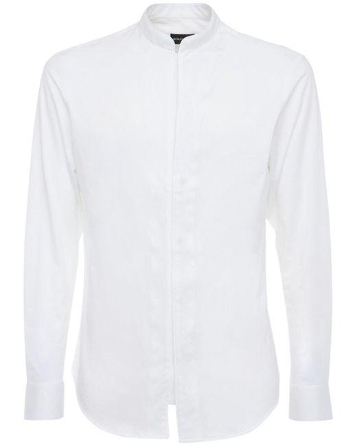 メンズ Giorgio Armani コットンブレンドストレッチスリムシャツ White