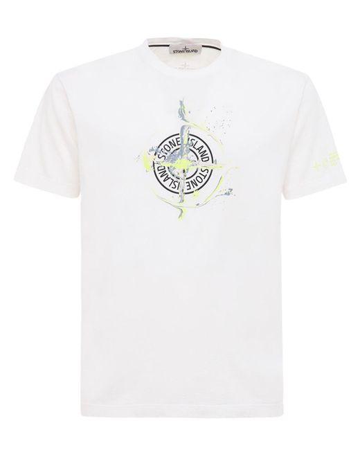 T-shirt In Jersey Di Cotone Stampato di Stone Island in White da Uomo