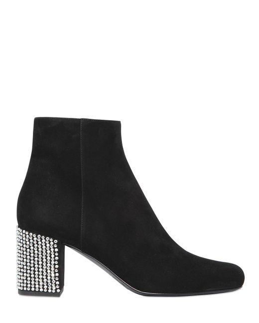 Saint Laurent - Black Babies Embellished-Heel Suede Ankle Boots - Lyst