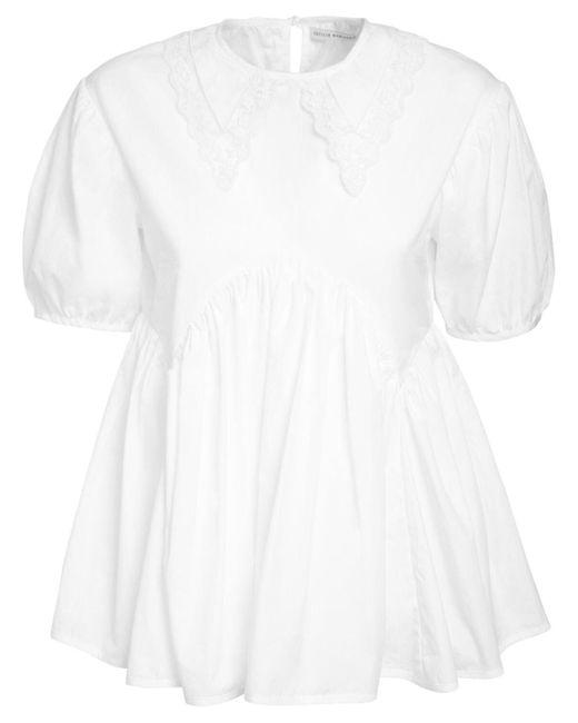 CECILIE BAHNSEN Mie Panel コットンポプリンシャツ White