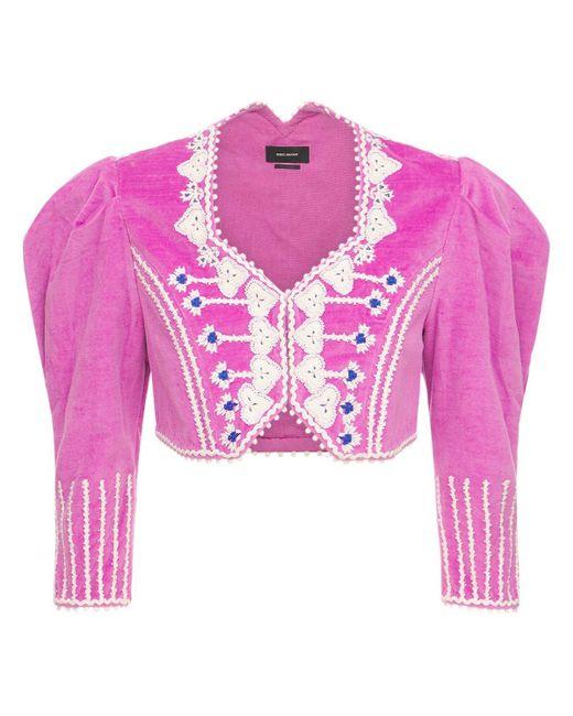 Бархатный Жакет С Вышивкой Isabel Marant, цвет: Pink